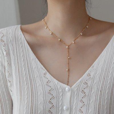 花姑子的賣場歐美簡約冷淡風天然珍珠項鍊鎖骨鍊長款女溫柔氣質百搭網紅不掉色