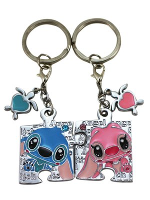 【卡漫迷】 史迪奇 拼圖 鑰匙圈 兩入組 ㊣版 星際寶貝 男女朋友 情侶 禮物 吊飾環 水鑽 迪士尼