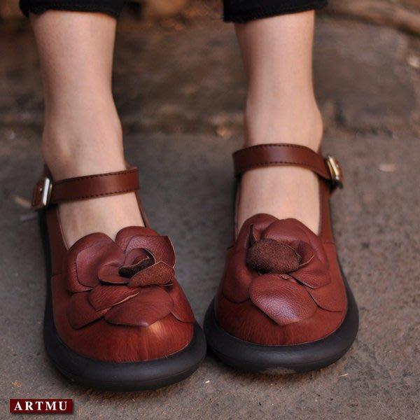 *姑涼家*原创春季新品民族手工花朵 搭扣牛皮单鞋坡跟鞋低跟女鞋