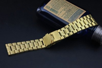 22mm金色超值亞米家sea master海馬風格平頭實心不鏽鋼錶帶speed master,替代各品牌同規格錶帶