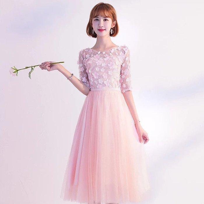 禮服粉色伴娘服姐妹團閨蜜伴娘中長款裙子伴娘禮服小禮服--崴崴安
