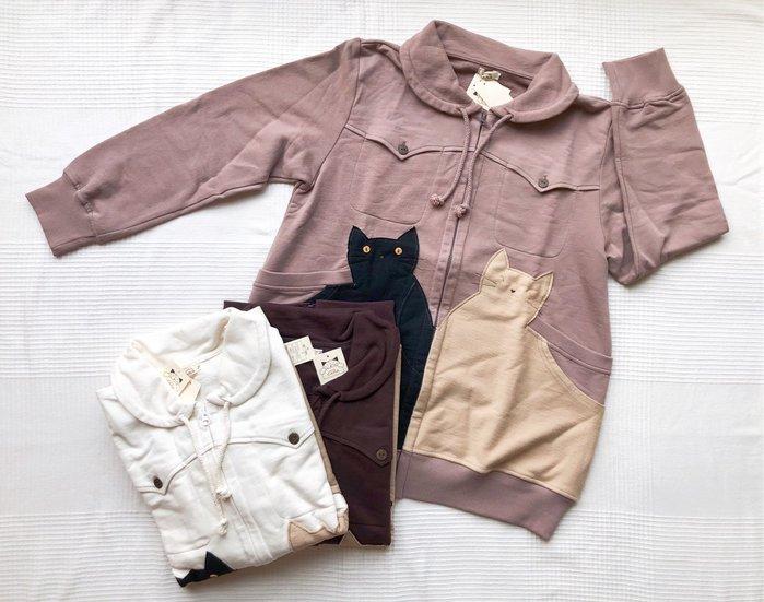 日本卡拉貓~大貓雙層口袋花苞領外套 M