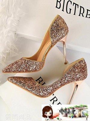 高跟鞋 水晶鞋金色婚鞋新娘側鏤空銀色高跟鞋細跟尖頭亮片單鞋女 99狂歡節  【晴晴小屋】