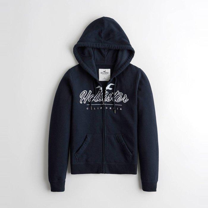 【HOLLISTER Co.】【HCO】HC女款棉質連帽外套淡藍鷗草寫字黑藍 F07191118-69