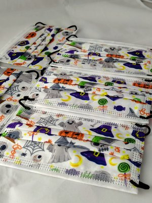 萬聖節限定 兒童平面口罩 三層防護 防塵防潑水 每包5片裝 (現貨不用等)
