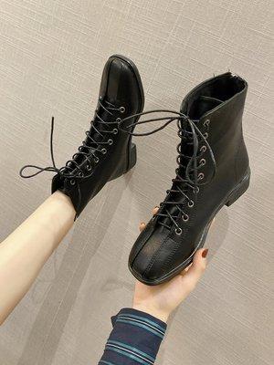 保暖女鞋 機車靴 馬丁靴 時尚百搭馬丁靴女秋冬透氣英倫風短靴百搭韓版時尚粗跟方頭靴