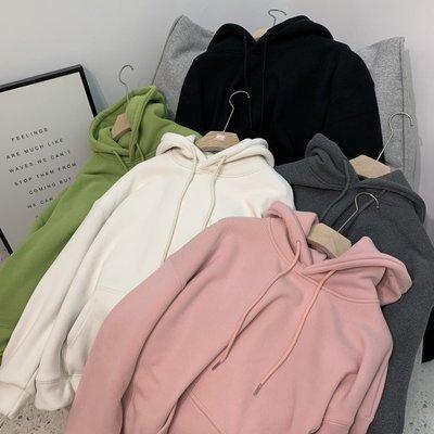 杏色綠色加絨加厚衛衣女2020冬季新款寬新松百搭韓版純色米呢新絨帽衫ak
