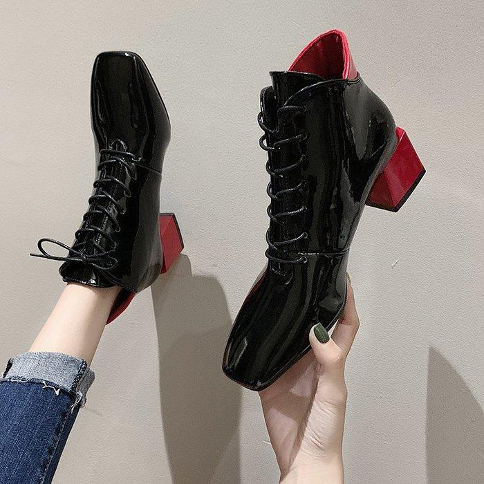 冬季保暖女靴 馬丁鞋 長靴機車靴 韓版百搭馬丁靴女春秋單靴英倫風百搭粗跟短靴女秋冬高跟靴子