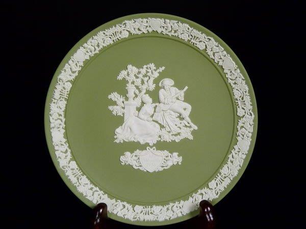 W43 WEDGWOOD JASPER 1986 SAGE GREEN碧玉浮雕  限量瓷盤 我的情人節-5 1986年