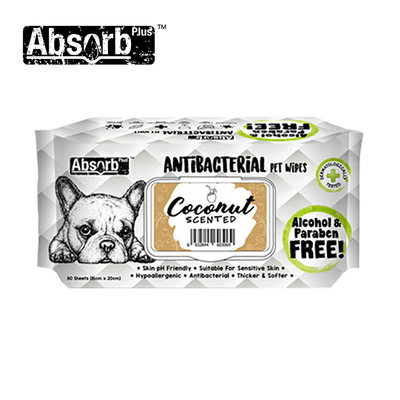 SNOW的家【訂購】Absorb Plus 寵物用抗菌濕紙巾 6種香味-椰子香 (11090038