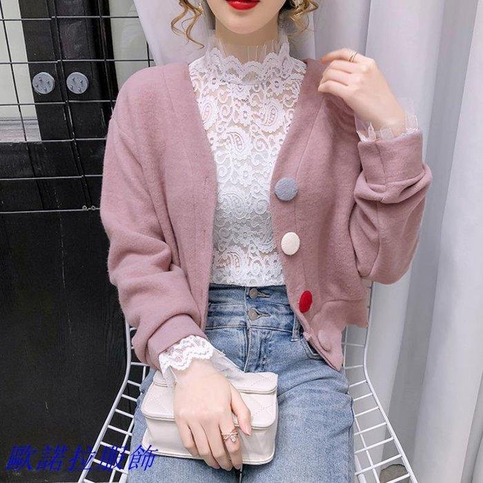 V領上衣 秋冬新款洋氣甜美撞色V領加厚毛呢短款俏皮百搭顯瘦時尚外套女潮 時尚女裝
