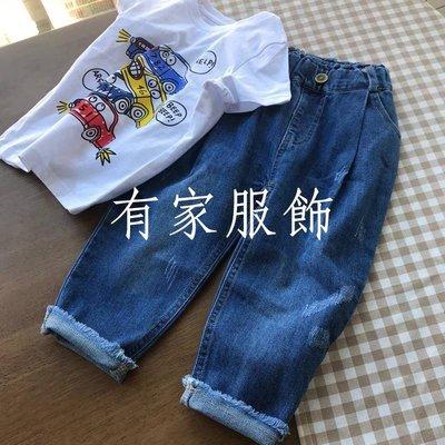 有家服飾潮有范兒~寬松深襠款 男童寶寶毛邊牛仔褲 兒童春裝長褲 新品