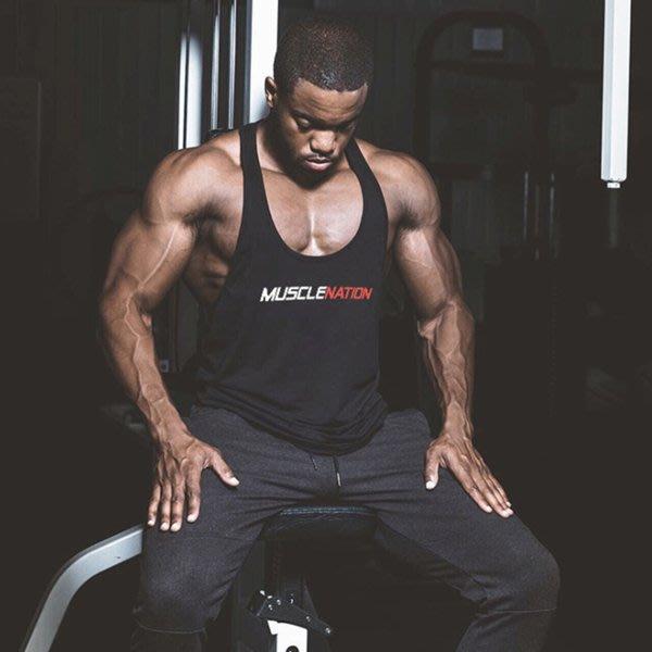 TT161 歐美爆款男士純棉印花肌肉兄弟健身挖背背心 籃球運動衫 大開叉 重訓 運動 HITOMEN