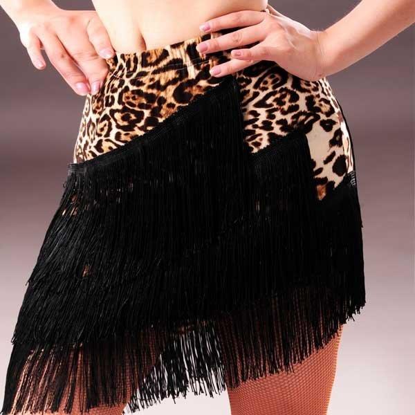 5Cgo【鴿樓】會員有優惠520325117917 拉丁舞流蘇舞蹈裙 成人表演服下裝女練習半身斜擺裙子倫巴恰恰舞