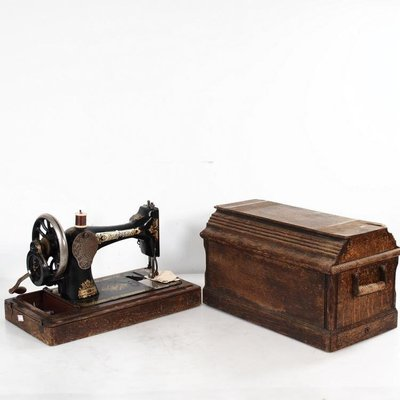 [古韻之家] 1920年英國古董勝家縫紉機Singer彩色印花老式手搖縫紉機配件全 ZG2685