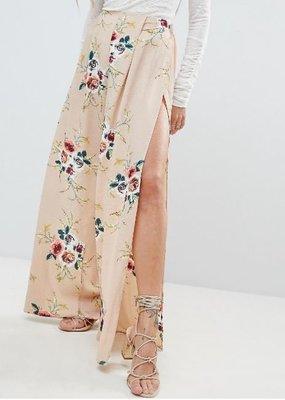 粉裸色花卉印花側開高衩輕盈飄逸面料寬管長褲 Floral Open Side Trouser 後鬆緊腰調適 英國時尚品牌