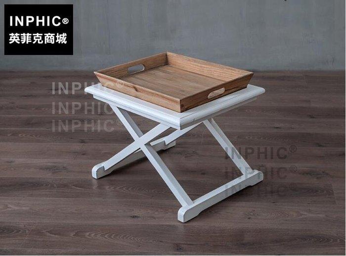 INPHIC-美式鄉村茶几 歐法簡約個性帶托盤黑白長方形咖啡桌小邊桌-A款_S1910C