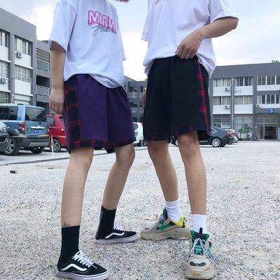 2018夏季韓國原宿格紋拼接休閑寬松百搭短褲情侶潮 五分褲男女