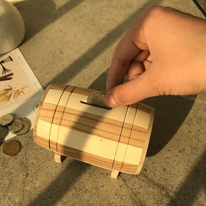 (大號)日本大和木質存錢罐 兒童儲蓄罐 卡通存錢罐 圓桶超大號 儲錢罐 禮品生日禮物 _☆找好物FINDGOODS☆