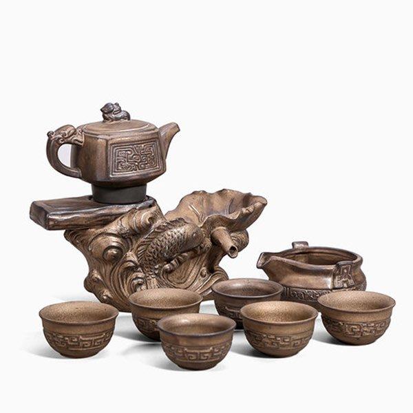 5Cgo【茗道】仿銅茶具套裝家用懶人陶瓷茶壺茶杯半全自動功夫整套創意衝茶泡茶器複古風中式大氣精緻589447864149