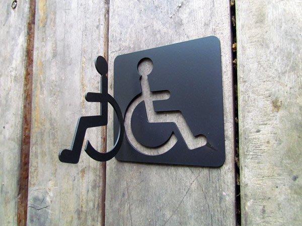 *正面跟側面都可看到標示*不鏽鋼 無障礙廁所牌,殘障標示牌、設施標示牌、廁所標示牌、化妝室掛牌、衛生間吊牌、洗手間標示牌