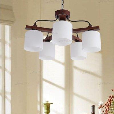 【Lighting.Deco】設計師的燈 MUJI 風格 客廳 房間吊燈 簡約木質鑄鐵5燈吊燈 附電子分段開關