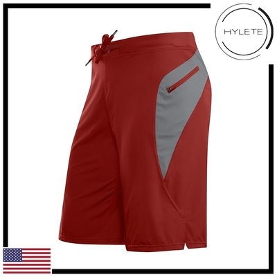 ►瘋狂金剛◄ 磚紅 HYLETE Verge II Flex-Woven Zip Pocket 抗菌 快速排汗 短褲
