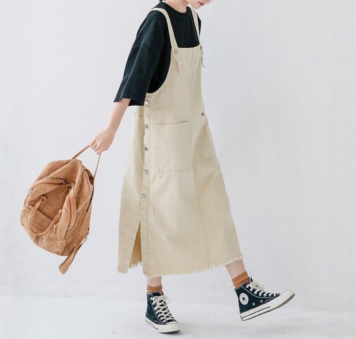 SeyeS   森林系復古自然風百搭口袋側排扣吊帶裙