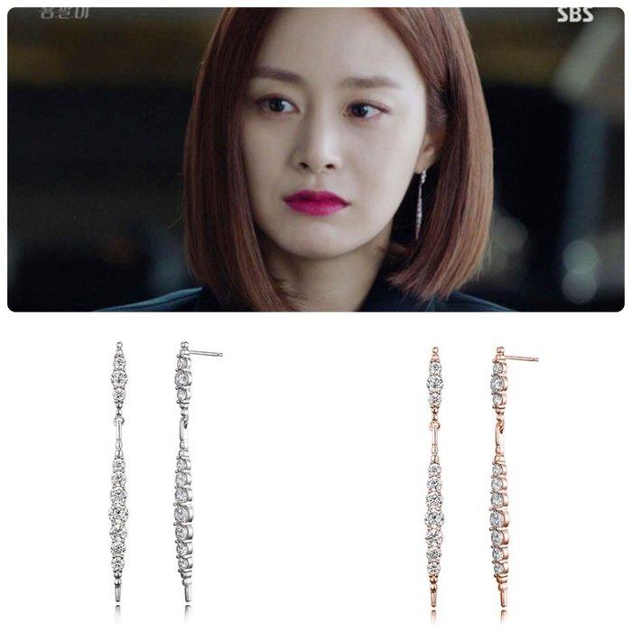 【韓Lin連線代購】韓國 HAESOO.L 海秀兒 - EB051 925銀 明星款垂掛造型鑲鑽耳環
