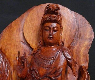 順福堂 台灣早期珍寶 紅豆杉木雕 大擺件【滴水觀音】重約 20.7公斤