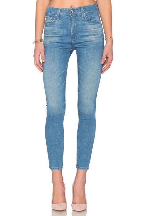 ◎美國代買◎AG legging FARRAH CROP SKINNY復古高腰淺藍刷色合身顯廋九分款牛仔褲~歐美街風