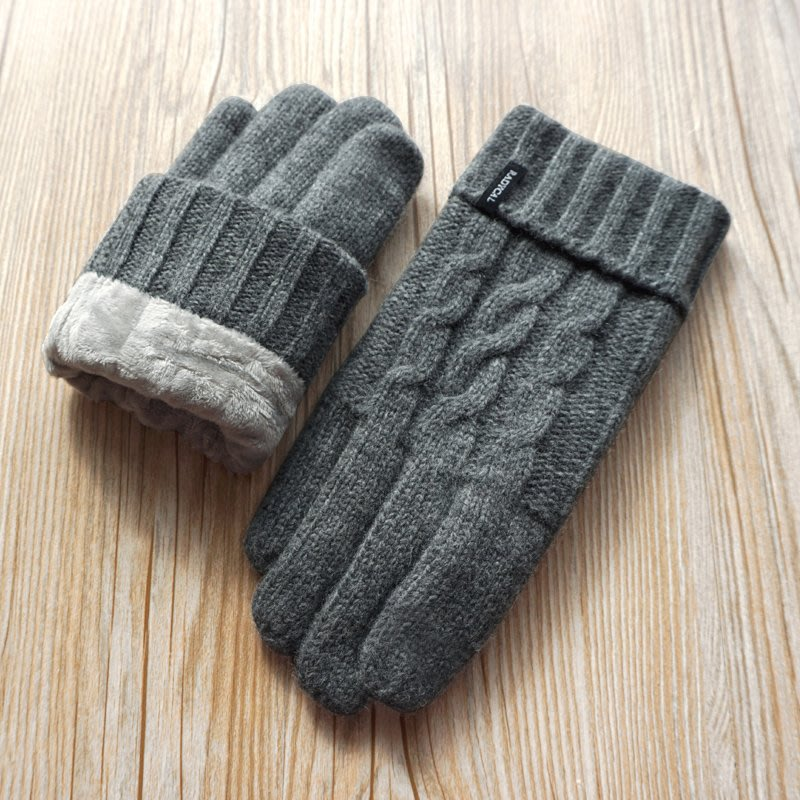 瑞迪卡歐秋冬男士純羊毛毛線雙層加厚加絨針織觸屏戶外保暖手套
