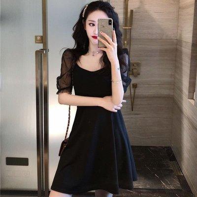 時尚女裙  夏季新款氣質方領漏鎖骨連衣裙氣質復古顯瘦網紗拼接赫本小黑裙女