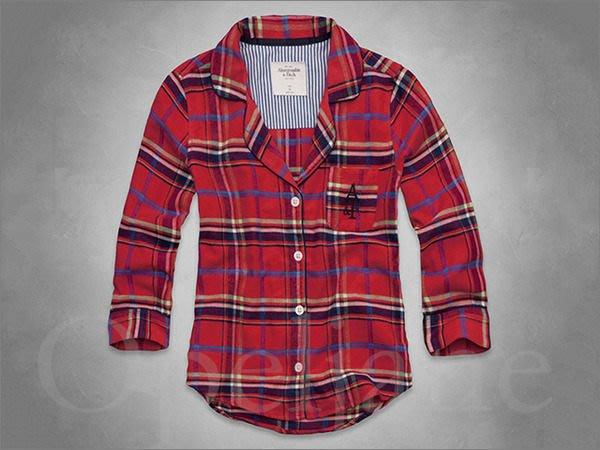 特價599 Abercrombie & Fitch A&F AF麋鹿舒七分袖紅色格紋翻領襯衫式睡衣XS號愛Coach包包
