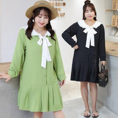 ✿plump girl 韓系✿大尺碼女裝娃娃領木耳邊設計連衣裙Y098