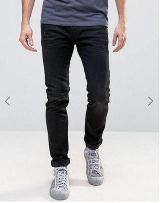 Diesel Tepphar Jeans 679f Distressed Black 黑色水洗破壞牛仔褲 修身單寧長褲
