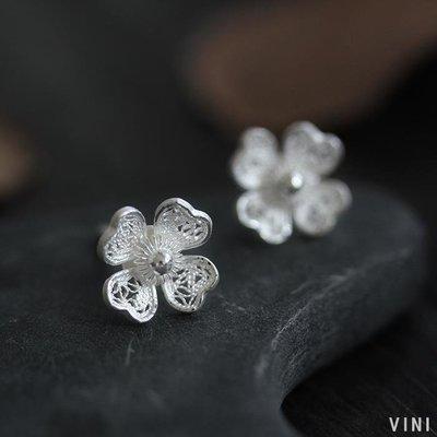 VINI 印尼設計師Diana-銀花絲藝術 純銀四葉草耳釘925銀耳環女八月里