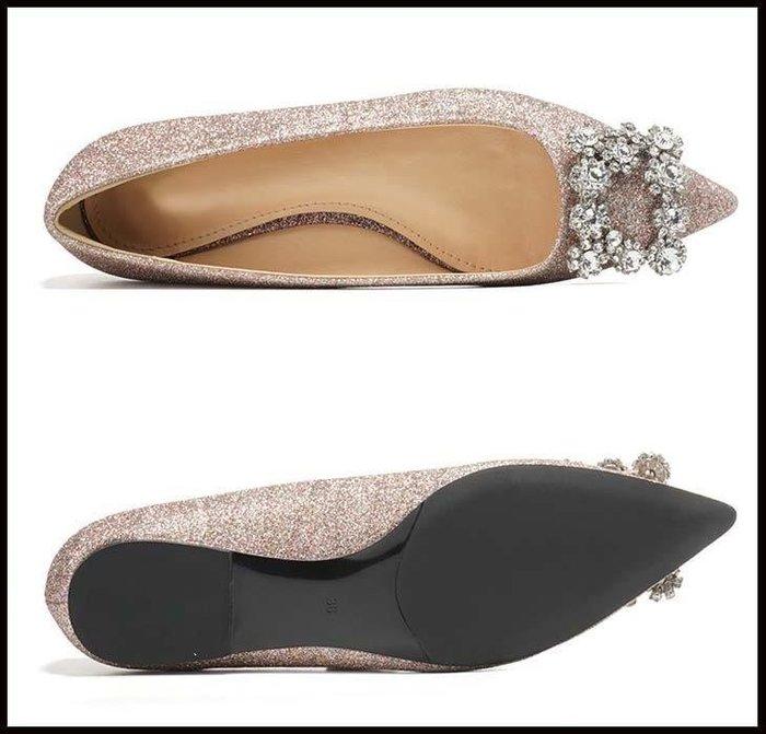 哆啦本鋪 新娘鞋春季水晶婚鞋女新款宴會鞋尖頭平底鞋女亮片方扣單鞋D655