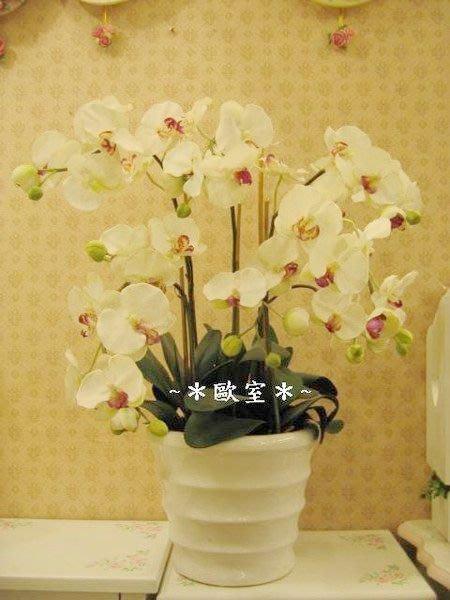 ~*歐室精品傢飾館*~人造花 ~蝴蝶 蘭花 盆栽~白~新款上市~