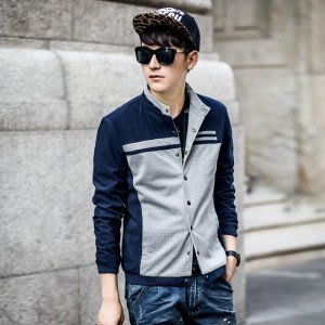 yes99buy加盟-2014秋裝新品 男士韓味個性休閒時尚外套 千鳥格戶外拼接男款夾克