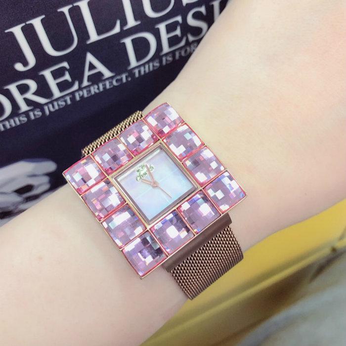 歐美時尚奢華名媛風絕美限量純手工鑲崁閃耀方型大彩鑽 日本機芯石英米蘭網眼鋼帶女錶 加贈真皮錶帶 母親節 情人送禮