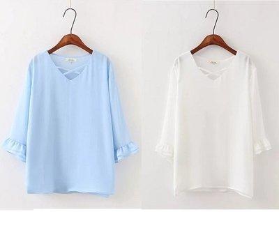 加大尺碼655 春裝新款大碼顯瘦女裝胖MM寬鬆百搭喇叭袖V領雪紡T恤2XL藍色現貨區