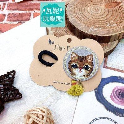 ♫瓦妮玩樂趣♫【現貨】韓國可愛貓咪刺繡造型髮圈 髮束 髮飾 魚骨頭 流蘇 韓國髮飾 兒童 女孩