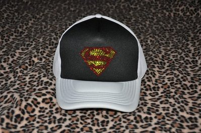 CON LONG 施華洛世奇水晶燙鑽手工客製訂做網帽(超人網帽)直接購買價$1300