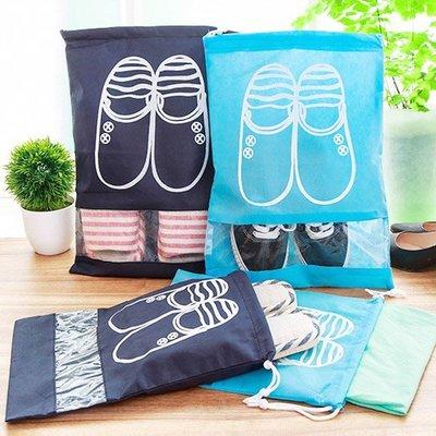 《Jami Honey》【JD1321】深淺藍色大頭鞋圖案加厚衣物鞋子收納袋 (大號)