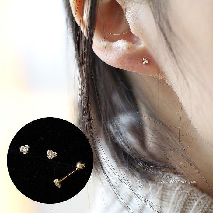 AT13-法式手工輕珠寶-耳骨釘 純14K黃金。捷克水鑽愛心耳環 日系超閃精緻可愛  agete風格