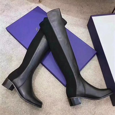 ◇。Queen Bee◇歐美大牌經典SW5050好萊塢女星長腿秘密 異材質拼接類真皮萊卡彈力過膝靴 騎士靴 Gigi代言