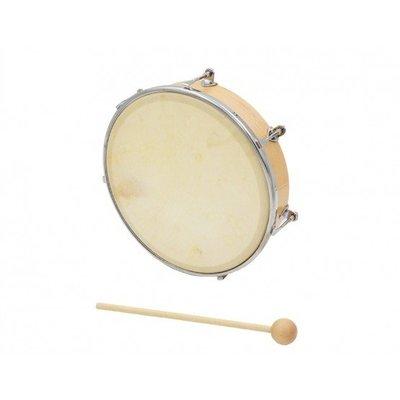 【現代樂器】HAOSEN HTB系列 10吋 原木色 木框 可調式牛皮 手鼓 附鼓棒