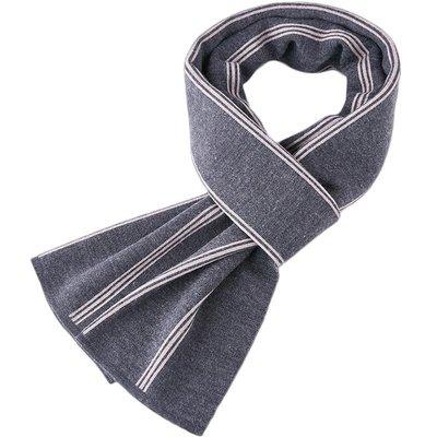 圍巾 針織披肩-商務條紋提花羊毛男配件3色73wi84[獨家進口][米蘭精品]