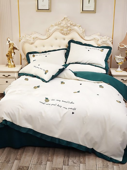 西柚姑娘雜貨鋪☛熱賣中#水洗棉四件套網紅款床單公主款被套少女心ins風裸睡床裙床上用品